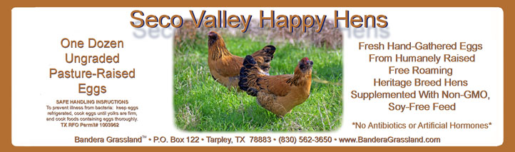 Seco Valley Happy Hens label